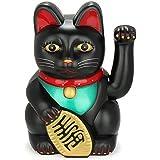 """Monkey King Feng Shui Lucky Cats Lucky Beckoning Waving Wealth Cat Maneki Neko 6"""" tall BLACK"""