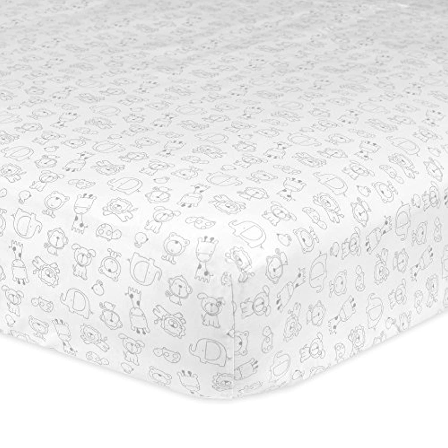 Gerber 100% Cotton Fitted Crib Sheet, Animal by Gerber