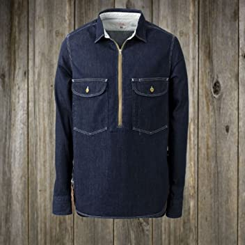Zip-Up Work Shirt: Rinsed Denim