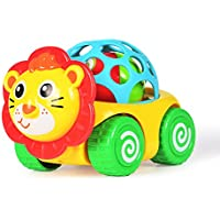 Rattle and Roll Cartoon Car Toy , Pull Back Action with Rattleサウンド、かわいいライオンVehicle