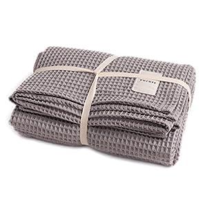 ユクスス(yucuss) マルチカバー ソファーカバー 綿100% ワッフル生地 (双糸使用) さらっと 快適 長方形(ワイドキングサイズ 200×240cm) グレー 55445213