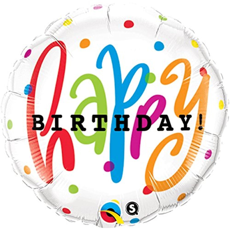 Qualatex 18 Inch Round Foil Balloon - Happy Birthday Dots