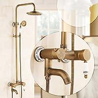 浴室のシャワーセット 模造の古代シャワーセット完全な銅のバスルームホットとコールドレトロな蛇口アメリカンスタイルのノズル入浴装置 (設計 : B)