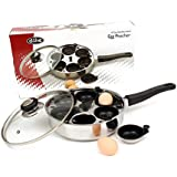 Egg Poacher Pan 4 cup with Lid Non Stick Saucepan Fry Cookware Poached eggs