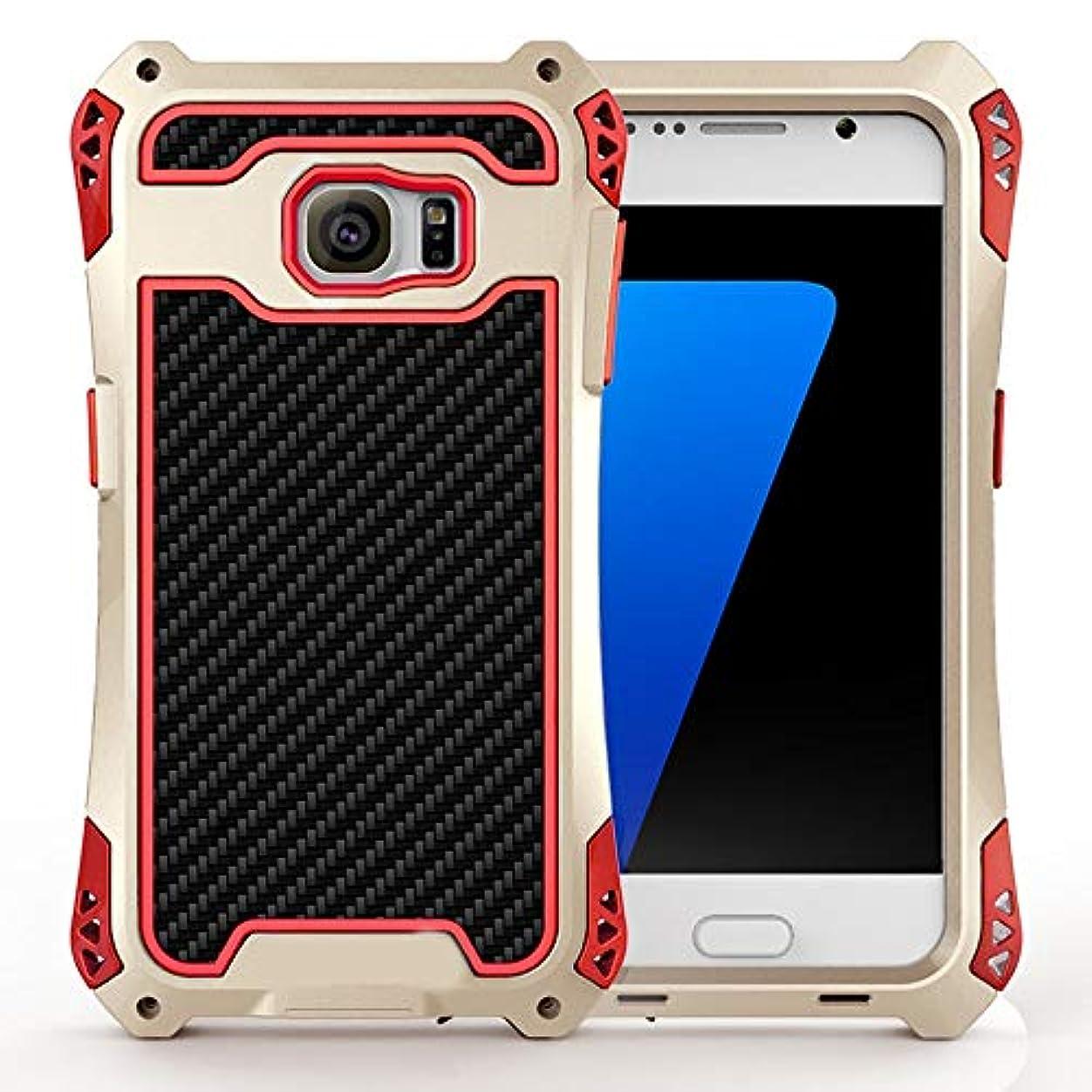 強度記念碑手順Tonglilili 電話箱、Samsung S7、S7の端のための防水箱の金属の電話箱の表面3の保護カバーの電話箱 (Color : Black+Red+Gold, Edition : S7 Edge)