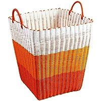 ポータブルランドリーバスケットプラスチック模造ラタン汚れたハンパーの服雑貨のストレージバスケット、34 * 34 * 40センチメートル (色 : D)