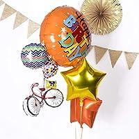 風船 浮かせてお届け ヘリウムガス入り 自転車ブーケのスター バルーン 星の色 アンティークゴールドとピンク 誕生日 飾り付け バルーン電報