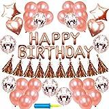 KUNTII 誕生日 飾り付け きらきら風船 バースデー デコレーション セットHAPPY BIRTHDAY シャンパンカラー紙吹雪入れ バルーン パーティー お祝い(ローズゴールド)