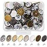 Yakamoz 80 Sets 17mm Metal Jeans Button Replacement Kit Fastener Tack Buttons for Denim Jeans Pants Buttons Fix Repair (8 Sty