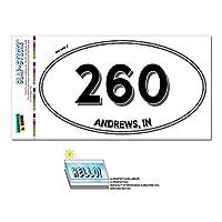 260 - アンドリュース, に - インディアナ - 楕円形市外局番ステッカー