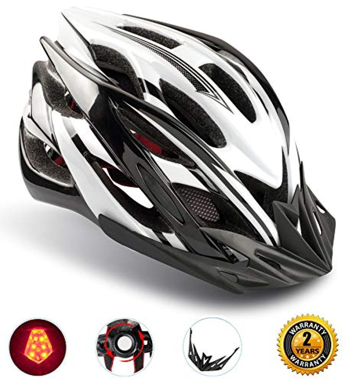 自転車ヘルメット ShinmaxヘルメットLEDライト付き サイクリングヘルメット 22通気穴 取り外し可能なパラソル サイズ調整可能 頭守るCPSC認証 子供/大人も適用
