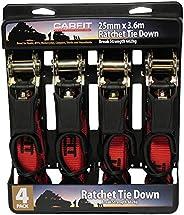 Carfit 46RT2536-4 Ratchet Tie Down Strap 4 Piece Set, Set of 4