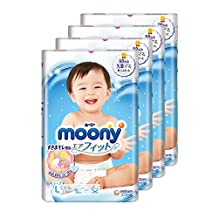 Moony Tape Diaper, L, 54 Count, (Pack of 4)