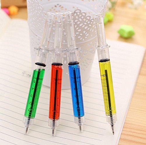 Gold butterfly@ 楽しい文具ボールペンを学ぶ8 PCSプラスチックシェル超リアルなモデリング注射器ペン型注入器(4色、各色2)