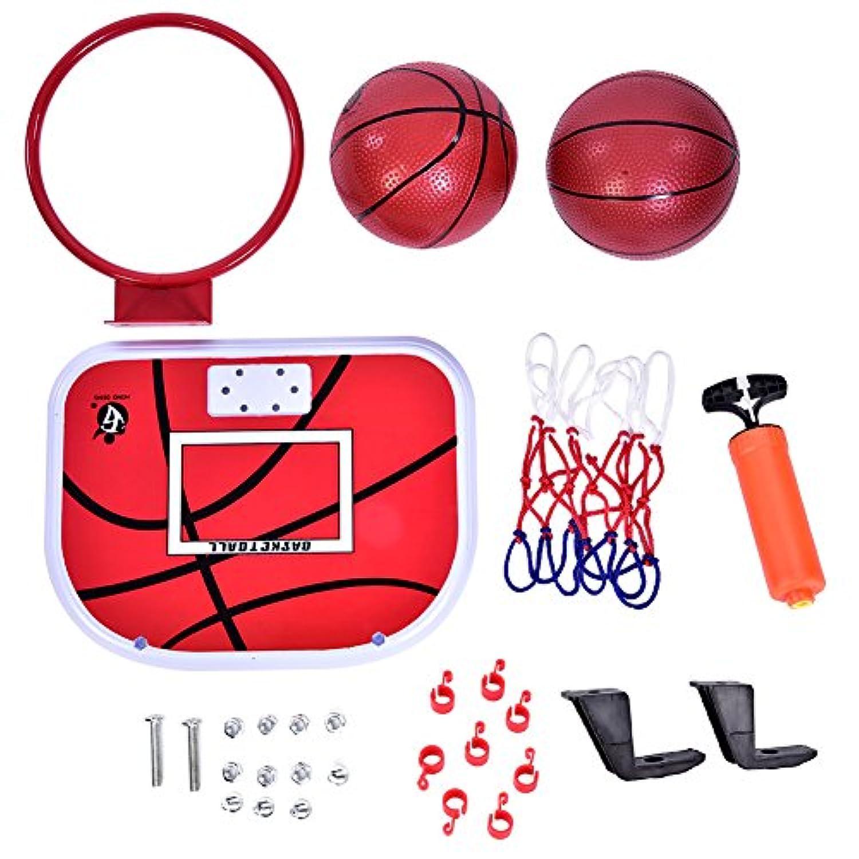 Alomejor ミニバスケットボール フープセット 屋内吊りバスケットボール おもちゃセット バスケットボールとエアポンプ付き 子供用