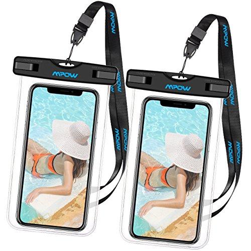 防水ケース スマホ用 iPhone X iPhone8 iPhone7など対応 Mpow 海水浴 潜水 お風呂 温泉 水泳 砂浜 水遊び 水中撮影 タッチ可能 iPhone Android 6インチ以下全機種対応 ネックストラップ付属 IPX8認定 18ヶ月間国内保証 ブラック
