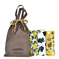 TRANPARAN ギフト デザインガーゼタオル フェイスタオル 3枚セット ギフトバッグ(小・茶) 付き (kukka・フルーツ・森の中)