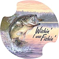 Thirstystone Angler's Dream Wishing' I was Fishing' Car Cup Holder Coaster, 2-Pack