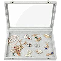 Stylifing Clear Lid Velvet 24 Grid Jewelry Tray Stackable Display Showcase Lockable Organizer Box for Girls Women ¡, Empty Jewelry Tray, Empty Tray