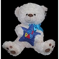 Large # 1 Dad Plush Bear Stuffed Animal Holding Star – Great Gift for Dad