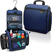 D&D Hanging Toiletry Bag ? Designer Travel Organizer for Makeup and Toiletries for Men and Women ? Hang Case for Cosmetics and Toilet Accessories with Metal Swivel Hook