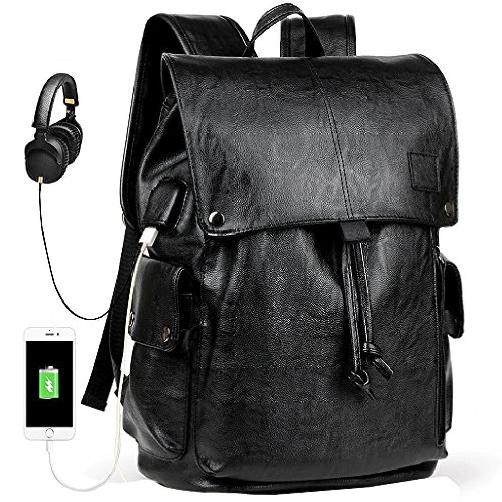 マーカー失われた自発リュックサック メンズ革 USB充電ポートとスマホ固定用吸盤付き 防水リュック PC対応ビジネスバッグ 大容量