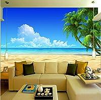 Mingld カスタム3D壁画壁紙ソファ寝室テレビの背景の装飾壁紙壁画壁画ビーチ風景地中海写真壁紙-120X100Cm