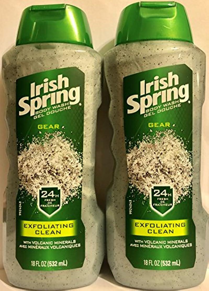 殺人によると専門知識Irish Spring ギアボディウォッシュ - エクスフォリエイティングクリーン - 火山ミネラルを - ネット重量。ボトルパー18液量オンス(532 ml)を - 2本のボトルのパック