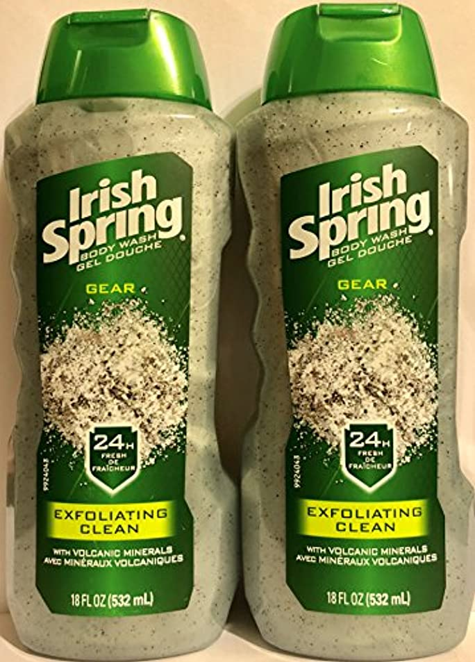 ミット種をまく逸話Irish Spring ギアボディウォッシュ - エクスフォリエイティングクリーン - 火山ミネラルを - ネット重量。ボトルパー18液量オンス(532 ml)を - 2本のボトルのパック