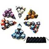 SD 6 x7-Die Series(42 Pieces) Two Colors Polyhedral Game Dice for Dungeons and Dragons DND RPG MTG Table Games Dice Set with Drawstring Dice Pouches