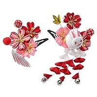 [京のみやび]髪飾り パッチン留め2点セット うさぎ 赤ピンク桜