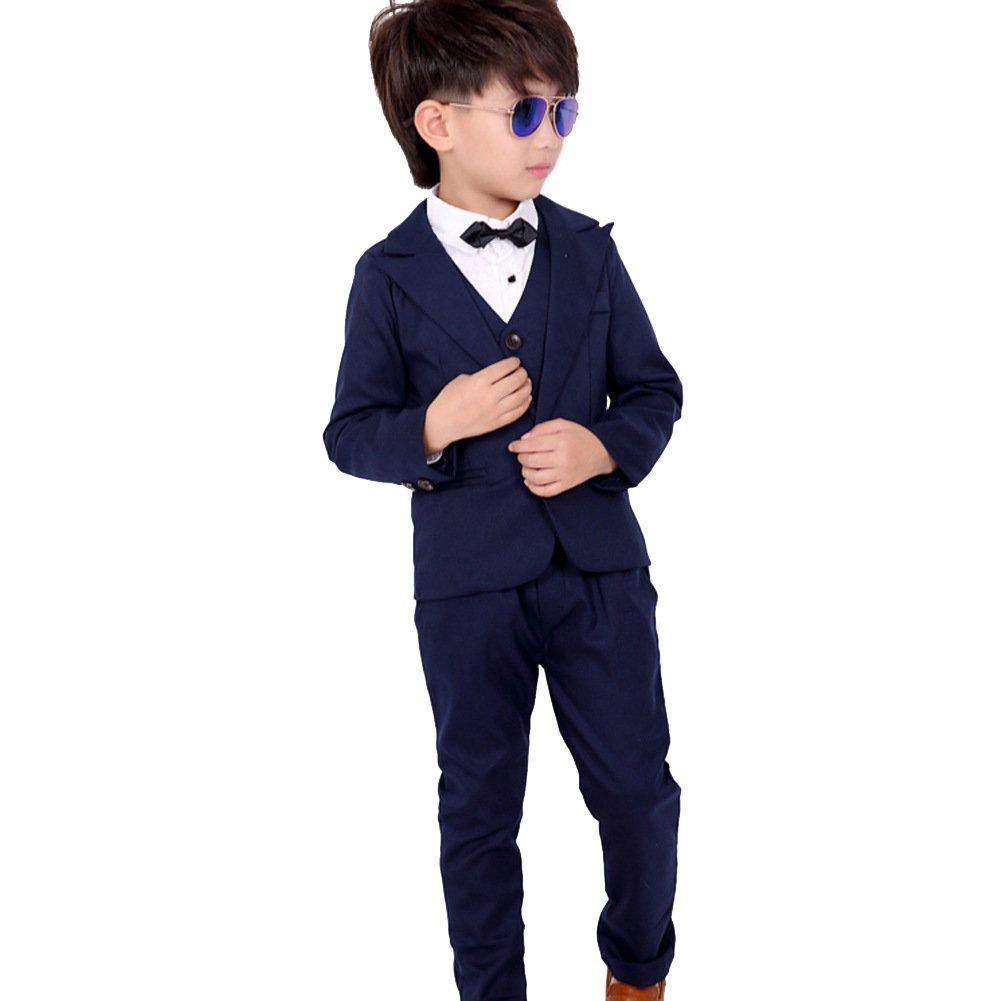 c3e0473b75fd1 子供服 スーツ 男の子 3点セット フォーマル 紳士服 ジュニア ボーイズ 長袖ジャケット ズボン ベスト