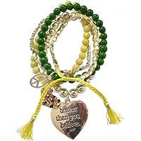 CAT HAMMILL(キャットハミル) B141 Lucky Peace Bracelet Sets 8本ブレスレットセット (グリーン Apple)