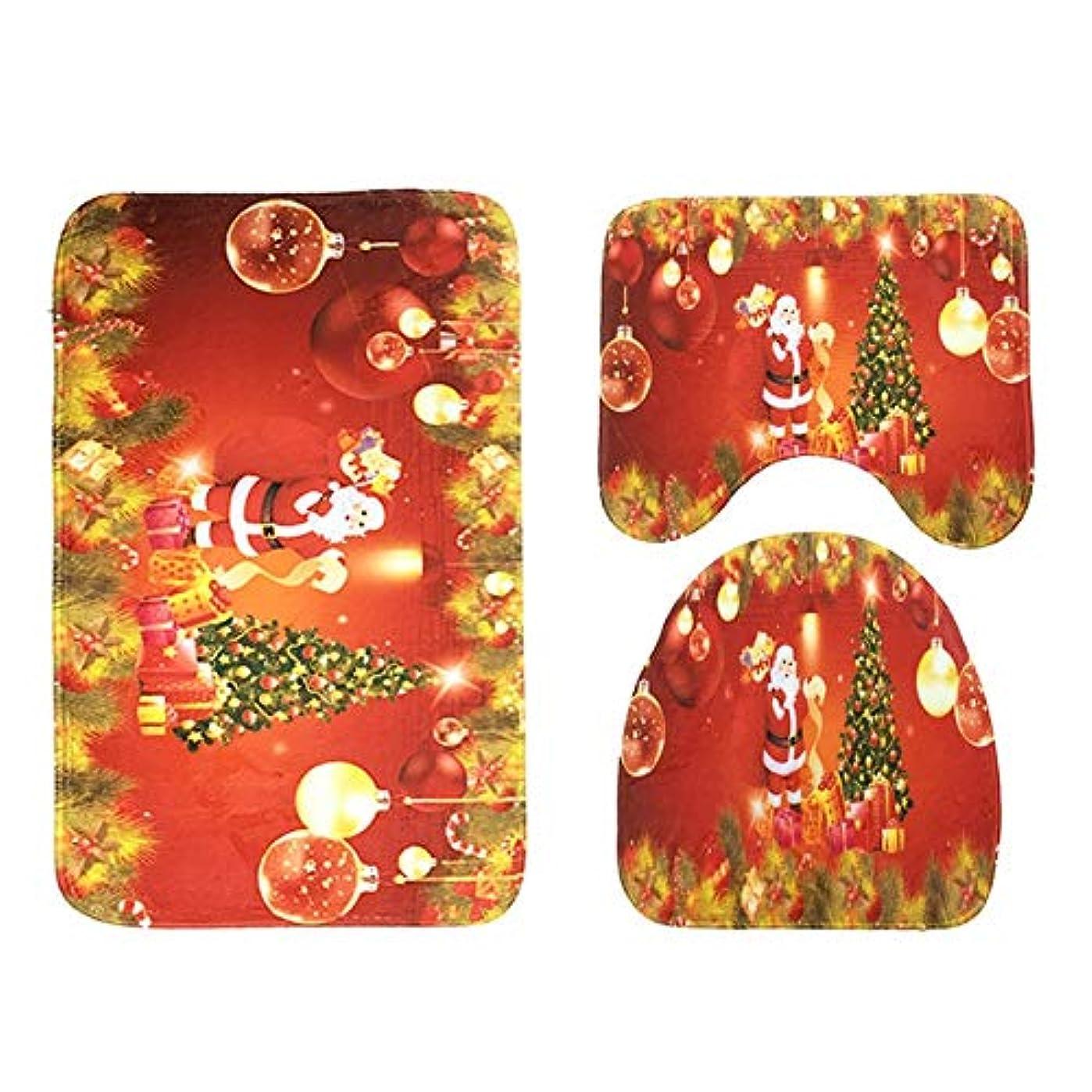 ブルゴーニュ手入れ細菌3PCS / SETモダンデザインバスルームバスマットセットトイレラグフランネル滑り止めバスルームカーペットホームトイレフタカバーフロアマット-マルチカラー混合老人クリスマスツリー