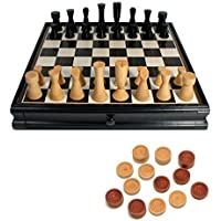 Black Modern Chess and Checkers Set with Storage by Wood Expressions [並行輸入品]
