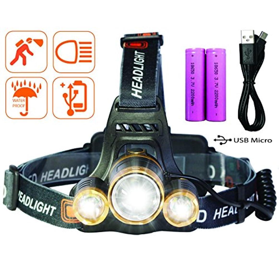 売上高何故なの国家ヘッドライト USB充電式 LEDヘッドランプ 防水式 登山 夜釣り 夜間作業 自転車 キャンプ アウトドア 18650電池2本付属 防災用 Tinova