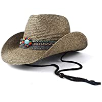 TX GIRL Cowboy Hat Women Straw Hollow Western Cowboy Hat Summer Lady Cowgirl Jazz Church Cap Tassel Ribbon Sombrero Beach Sun Hat Novelty Party Costumes (Color : Coffee, Size : 56-58)