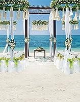 A Monamour 5x 7ftウェディングセレモニーデコレーションフラワーArchesビニールファブリック写真背景Seaside Beachホワイトウェディング