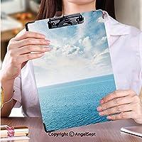 クリップボードメモ型サイズ低プロファイルクリップ 学校・ご家庭・オフィスなど場所青い海と夕日の時間の雲ストック画像 (1個)