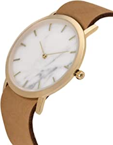 [アナログウォッチコー] 腕時計クラッシック大理石(白) タン色革バンド 正規輸入品