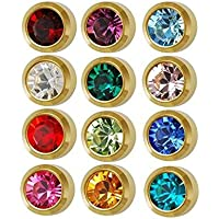 Caflon Surgical Steel Mini Gold 3mm Ear Piercing Earrings Studs 12 Pair Mixed Birth Stones, Yellow Metal
