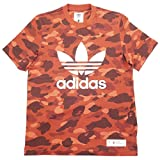 A BATHING APE ア ベイシング エイプ ×adidas 18SS CAMO JERSEY TOP サル迷彩柄Tシャツ 赤 L
