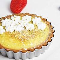 ACHICOO ベーキングツール 4インチ 焦げ付き防止 卵のタルト型 固定/取り外し可能 炭素鋼 ケーキ パン 固定底