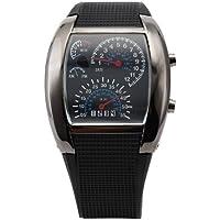 Demana Brand New Aviation Pilot Speedometer Dash Men's Binary Digital Wrist Watch Blue LED Light