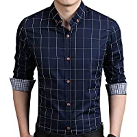 Aiyino Mens Slim Fit Long Sleeve Plaid Printings Business Checked Casual Dress Turn-Down Collar Button Down Suit Shirt in 8 Color