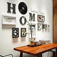 木製額縁 写真壁シンプルなモダンなソリッドウッドフォトフレーム壁クリエイティブ8の組み合わせの壁の壁の装飾の手紙の壁掛け壁、88 * 175cm, b、インストールが簡単