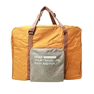 Trip Gate トラベルバッグ 大容量 防水 折りたためる キャリーに通せる 多機能 バッグ シンプル ボストンバック 男女兼用 (オレンジ)