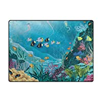 Colourlife 63x 48インチ軽量エリアラグマット床の再生の子供部屋ホーム装飾インドアラグUnderwater Landscape with Plants Fishes 63 x 48 in DT-021