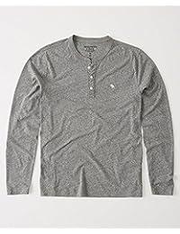 アバクロ ワンポイント ムースロンT アバクロンビー&フィッチ 灰色 グレー グレイ ポップアイコン ヘンリーネック A&F 長袖 Tシャツ ロング