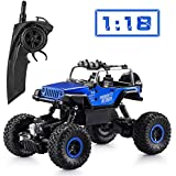 Apsung RC Car, Wireless Remote Control Off Road RC Toy Car, 1/18 Scale High Speed RC Truck, 4 Wheel Drive Jeep,  Children, Kids (2 Rechargeable Batteries Included)
